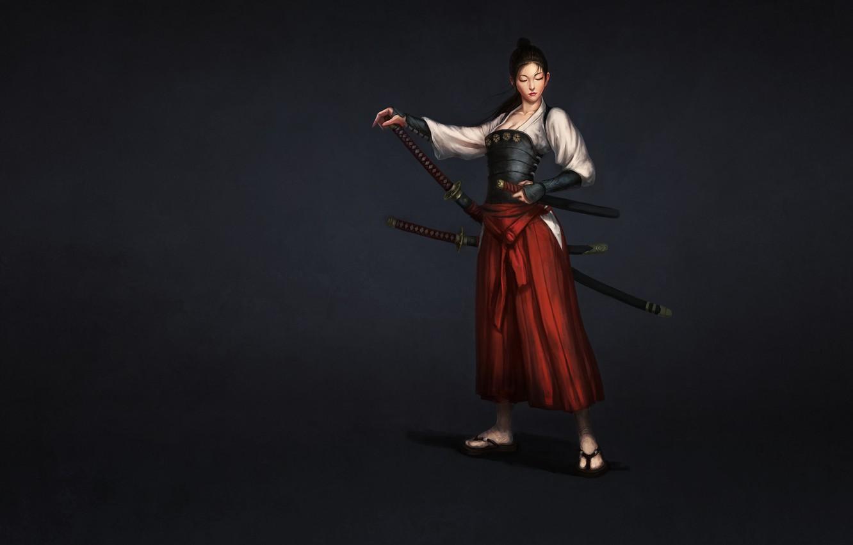 Wallpaper Girl Japan Art Style Samurai Minimalism