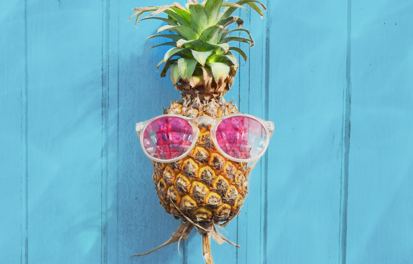 Photo wallpaper beach, summer, stay, glasses, summer, pineapple, beach, vacation, wood, paradise, pineapple, tropical, sunglasses