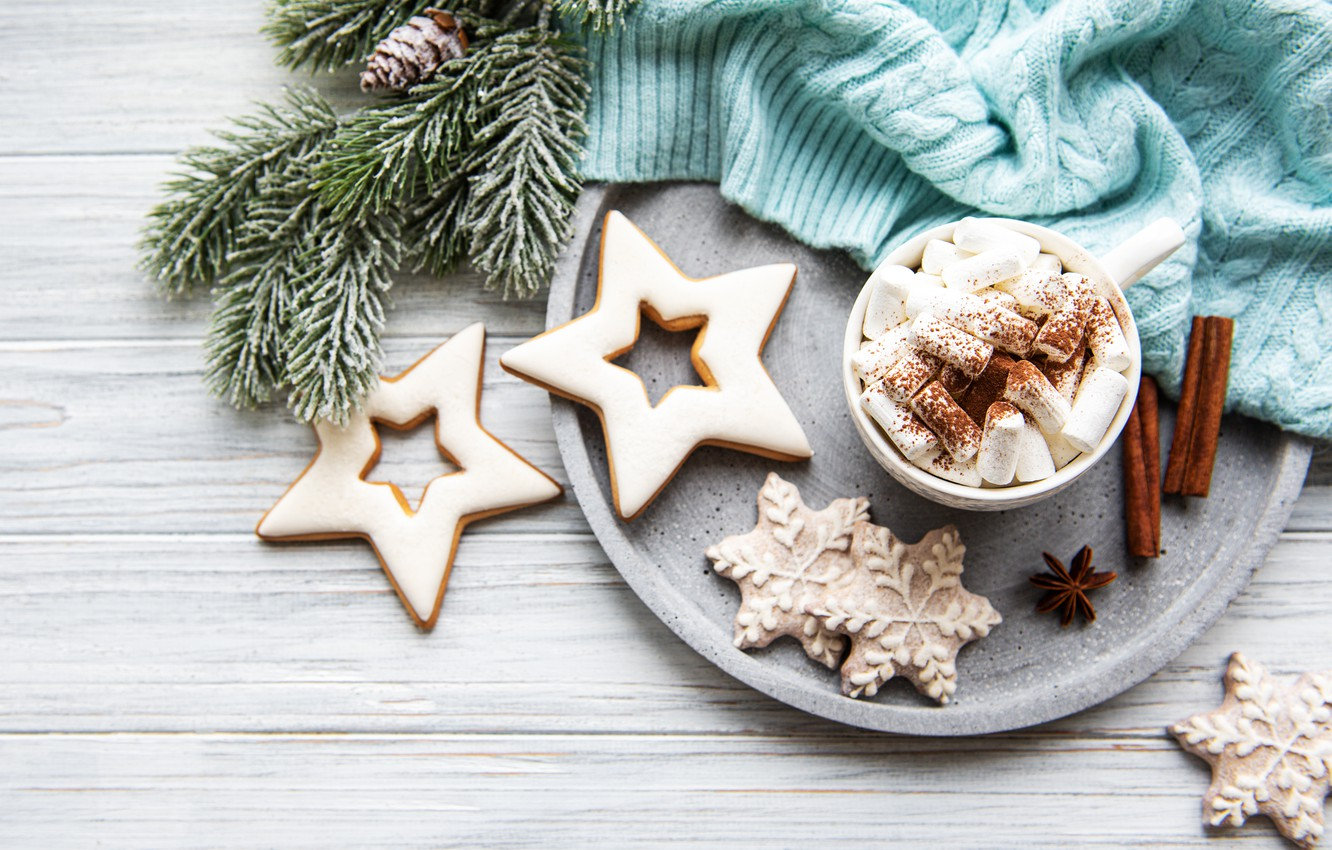 Photo wallpaper cookies, sweater, cocoa, spices