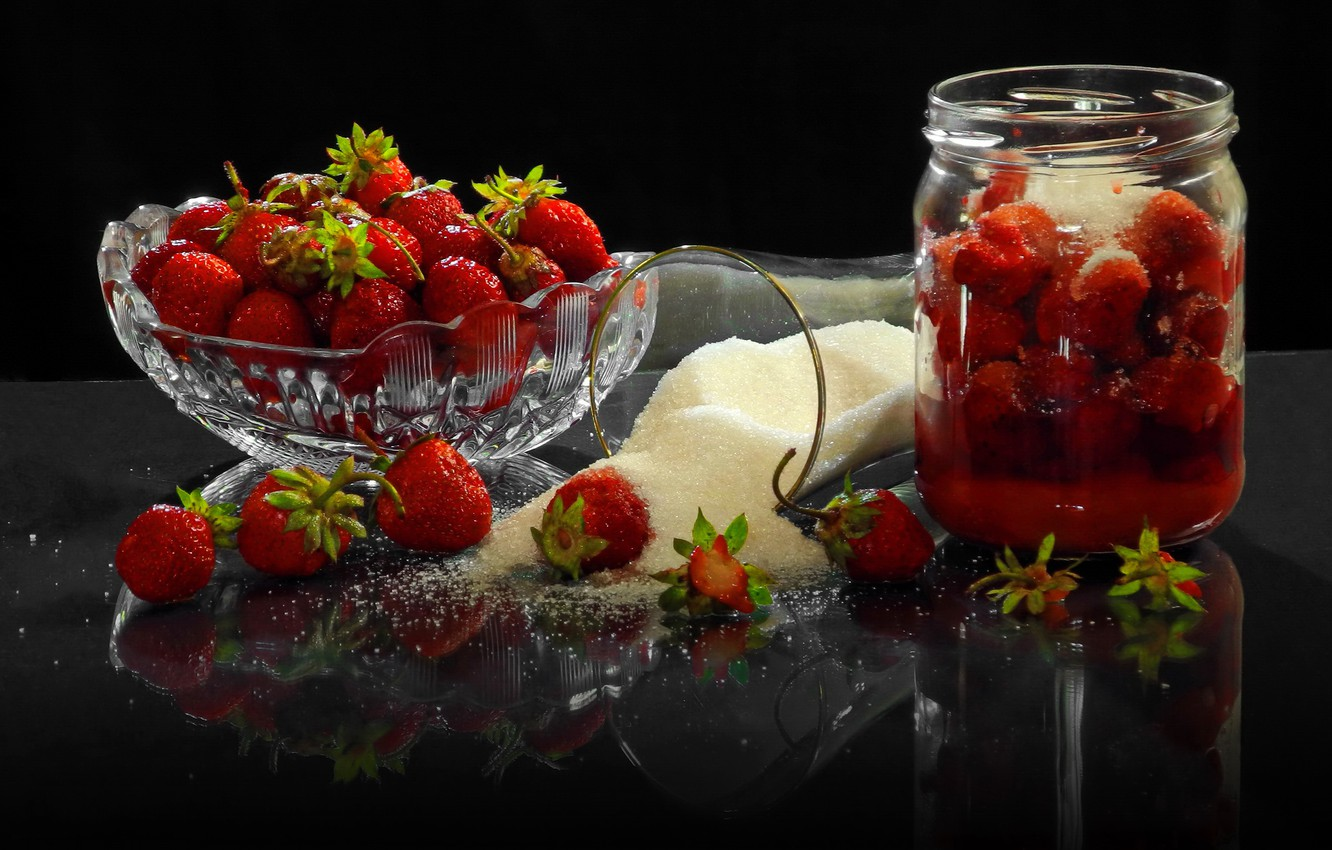 Photo wallpaper sand, glass, berries, strawberry, Bank, sugar, vase, Sergey Pounder