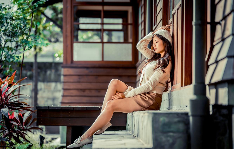 Photo wallpaper girl, skirt, legs, Asian, takes