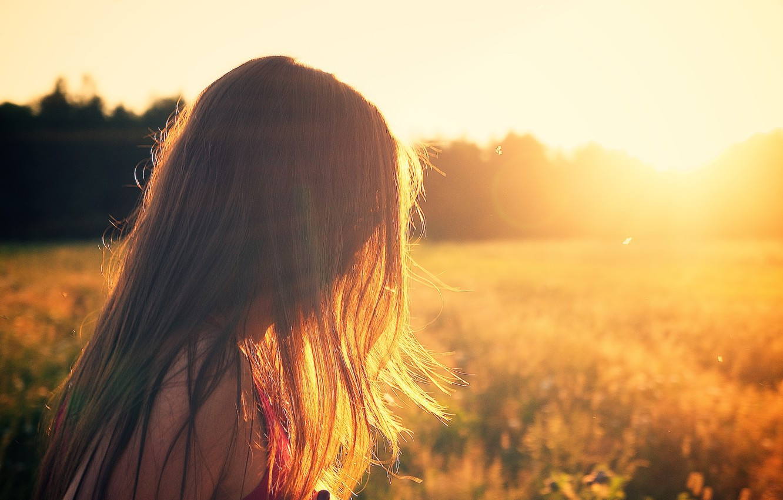 Photo wallpaper field, sunset, Girl