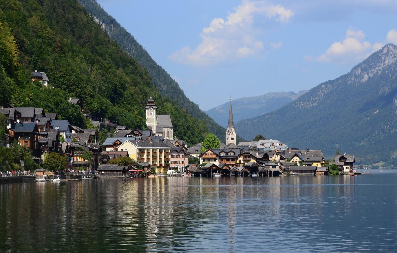 Photo wallpaper City, summer, Austria, Hallstatt, Lake, Sommer