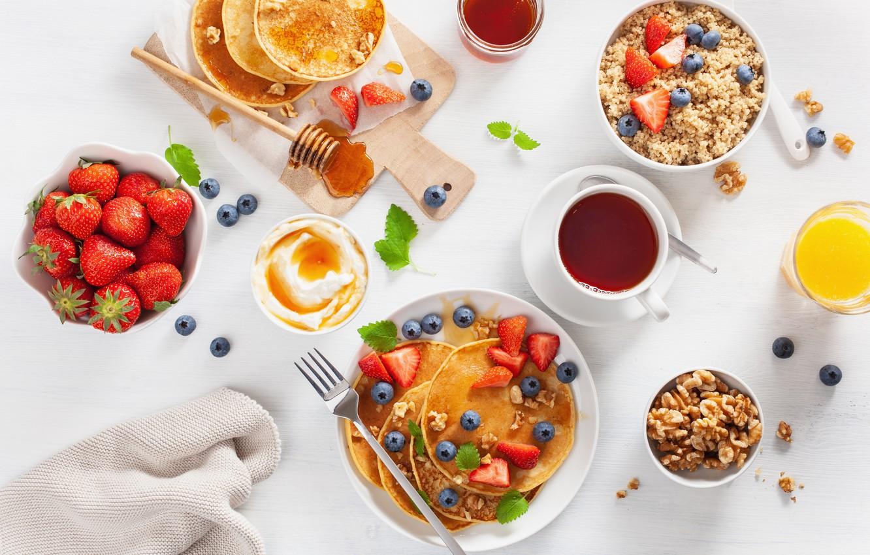 Photo wallpaper berries, tea, Breakfast, blueberries, strawberry, juice, pancakes