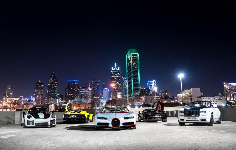 Photo wallpaper Lamborghini, Porsche, Bugatti, Rolls Royce, Ghost, GT3, Aventador, McLaren 570S, Chiron
