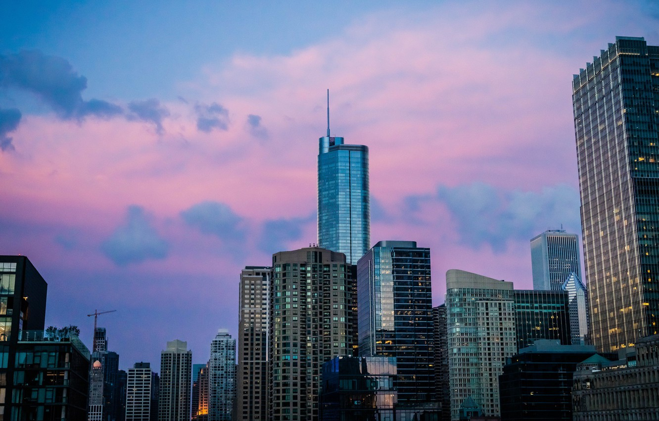 Photo wallpaper city, USA, Chicago, Illinois, twilight, sky, sunset, skyscraper, clouds, evening, building, United States of America, …