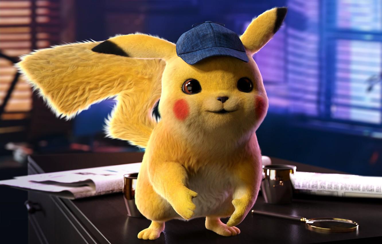 Photo wallpaper movie, cap, Pikachu, poster, pokemon, children's, Detective Pikachu, the Pokémon Cinematic Universe