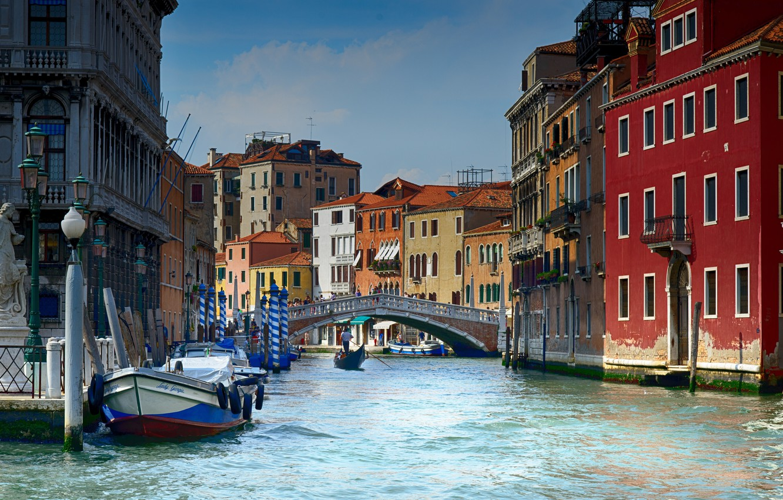 Photo wallpaper bridge, the city, home, lights, Italy, Venice, channel, statue, boats, gondola