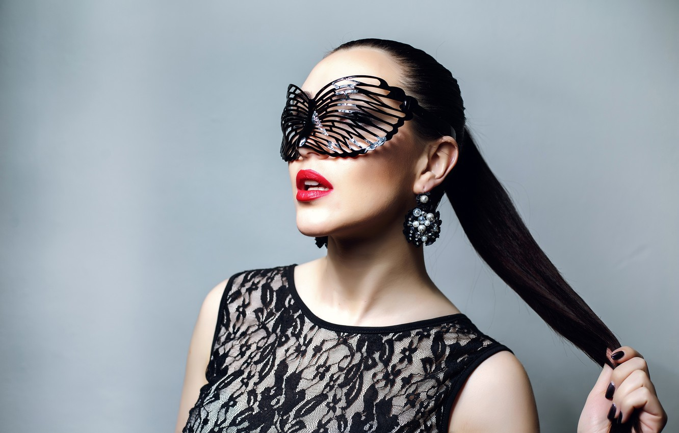 Photo wallpaper decoration, pose, style, background, makeup, brunette, mask, hairstyle, outfit, beauty, ponytail, in black