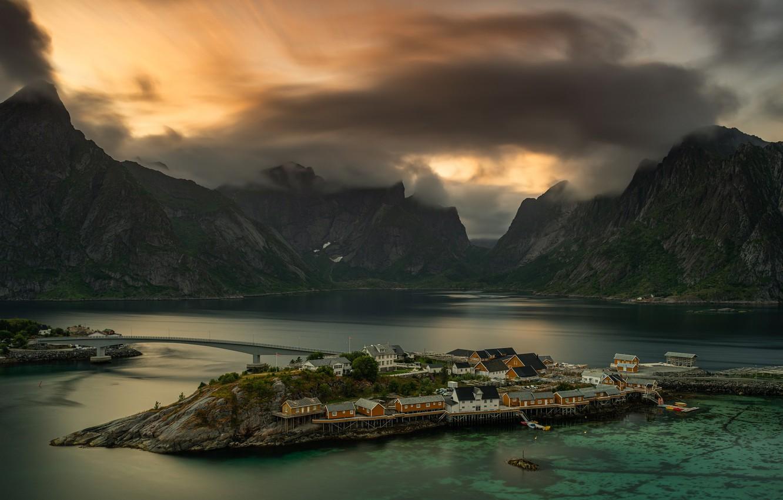 Photo wallpaper sea, landscape, mountains, clouds, nature, rocks, home, Norway, village, Moskenes, The Lofoten Islands, municipality, Lofoten, …