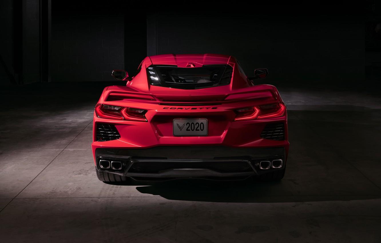 Photo wallpaper Corvette, Chevrolet, Lights, Stingray, Sports car, 2020, Chevrolet Corvette ( C8 ) Stingray