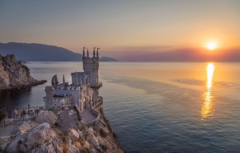 Photo wallpaper sea, rock, sunrise, castle, dawn, morning, Russia, Crimea, water surface, Swallow's nest, The black sea, ...