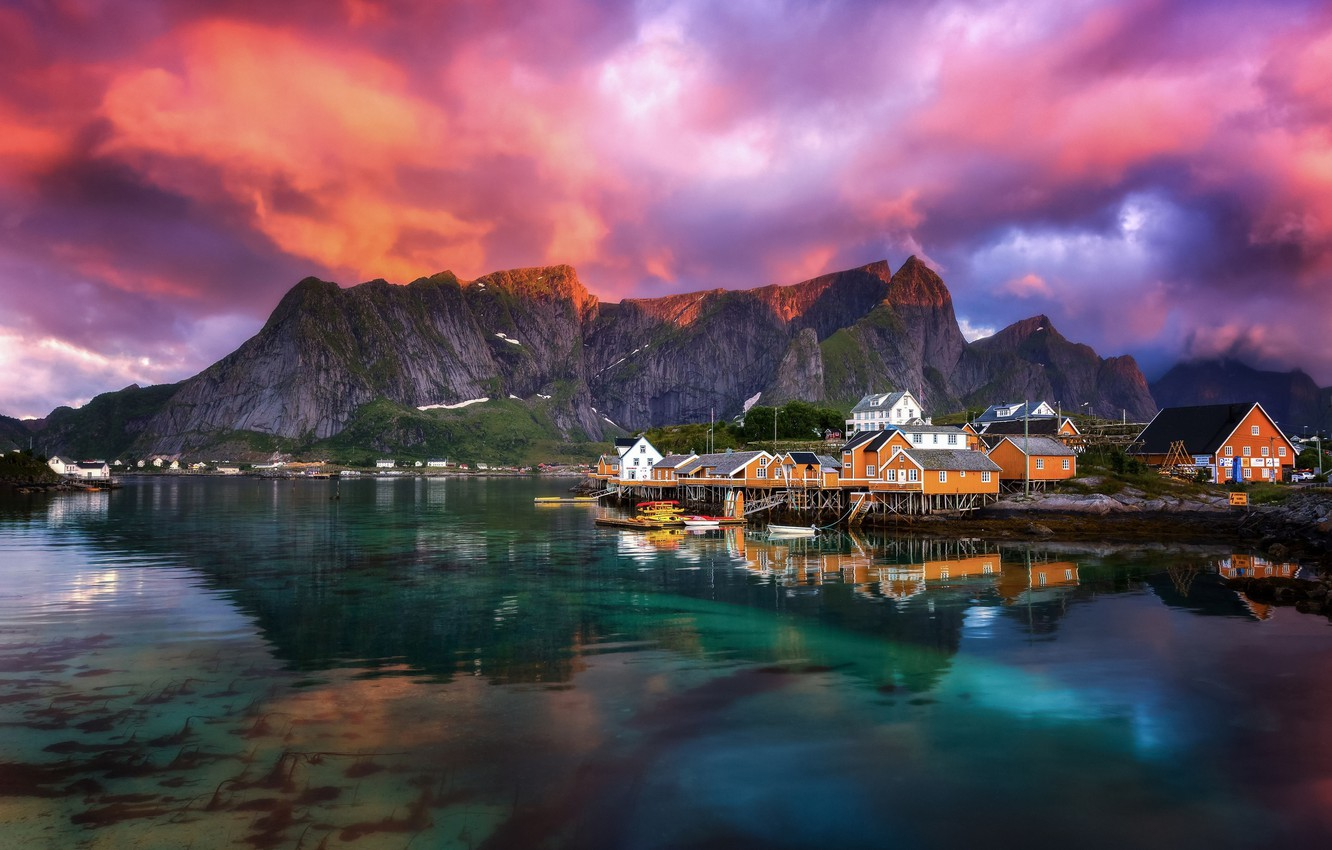 Photo wallpaper the sky, clouds, mountains, Norway, the village, the fjord