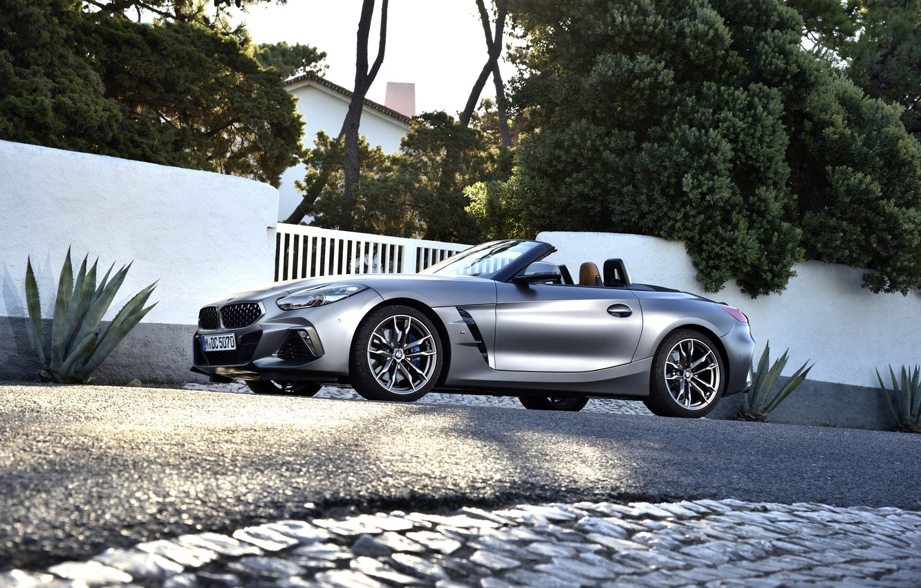 Wallpaper Asphalt Grey Vegetation Gate Bmw Roadster Bmw Z4