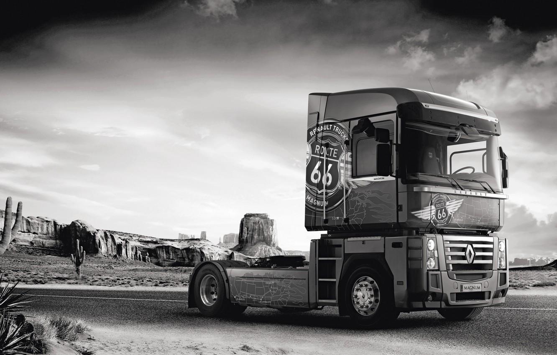 Photo wallpaper road, rocks, vegetation, desert, truck, Renault, cacti, Route 66, Magnum, tractor, 4x2, Renault Trucks