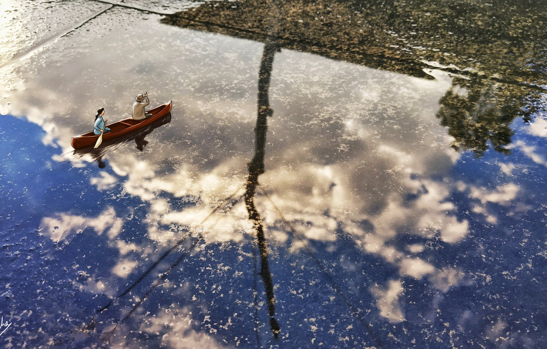 Photo wallpaper Water, Reflection, Boat, People, Puddle, Art, Boat, Sankha Mazumdar, by Sankha Mazumdar, Couple in a …