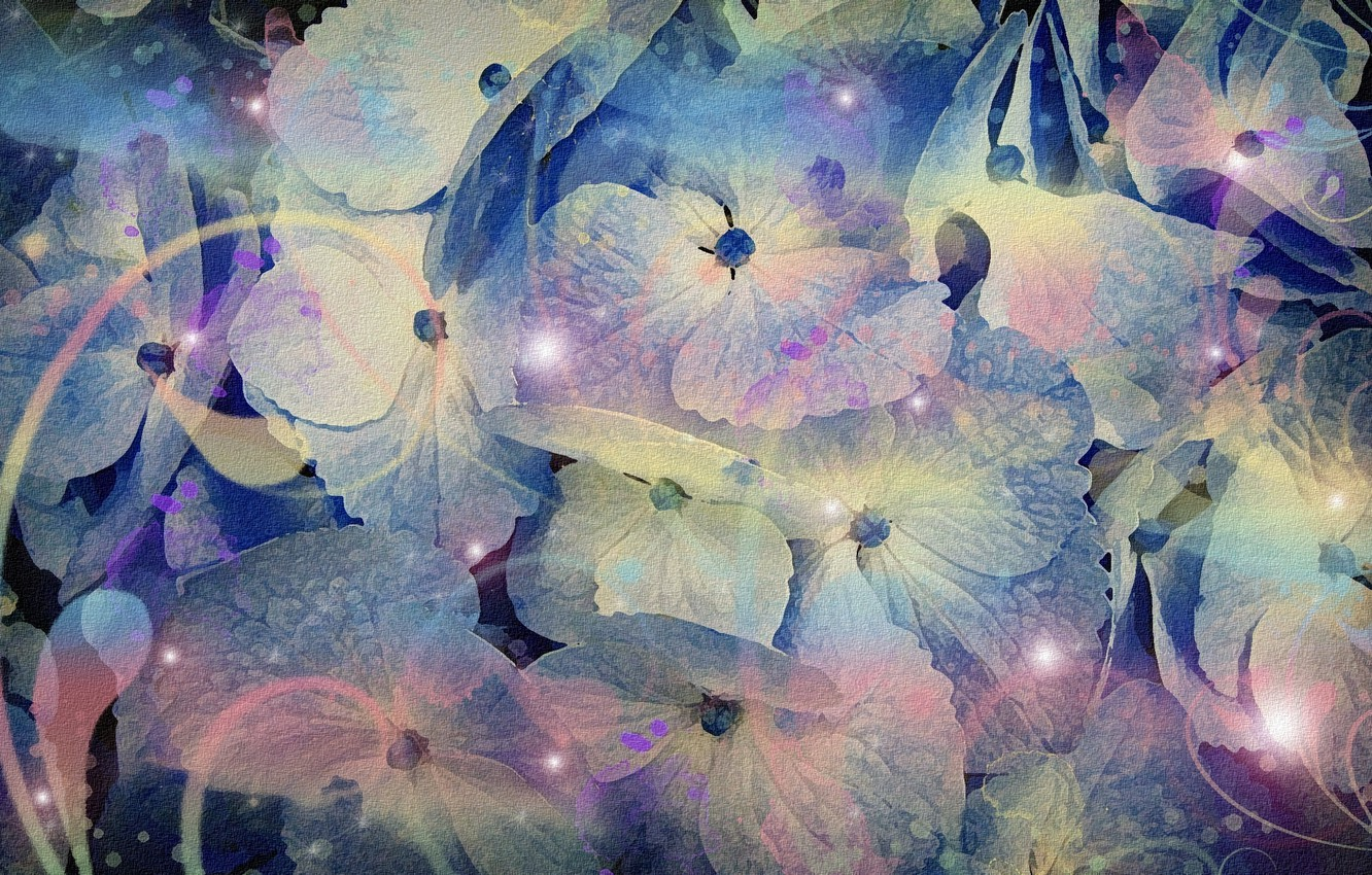 "Photo wallpaper abstraction, figure, cardboard, picture, screensaver on your desktop, floral fantasy, acrylic paint, purple shades, ""Fireflies …"
