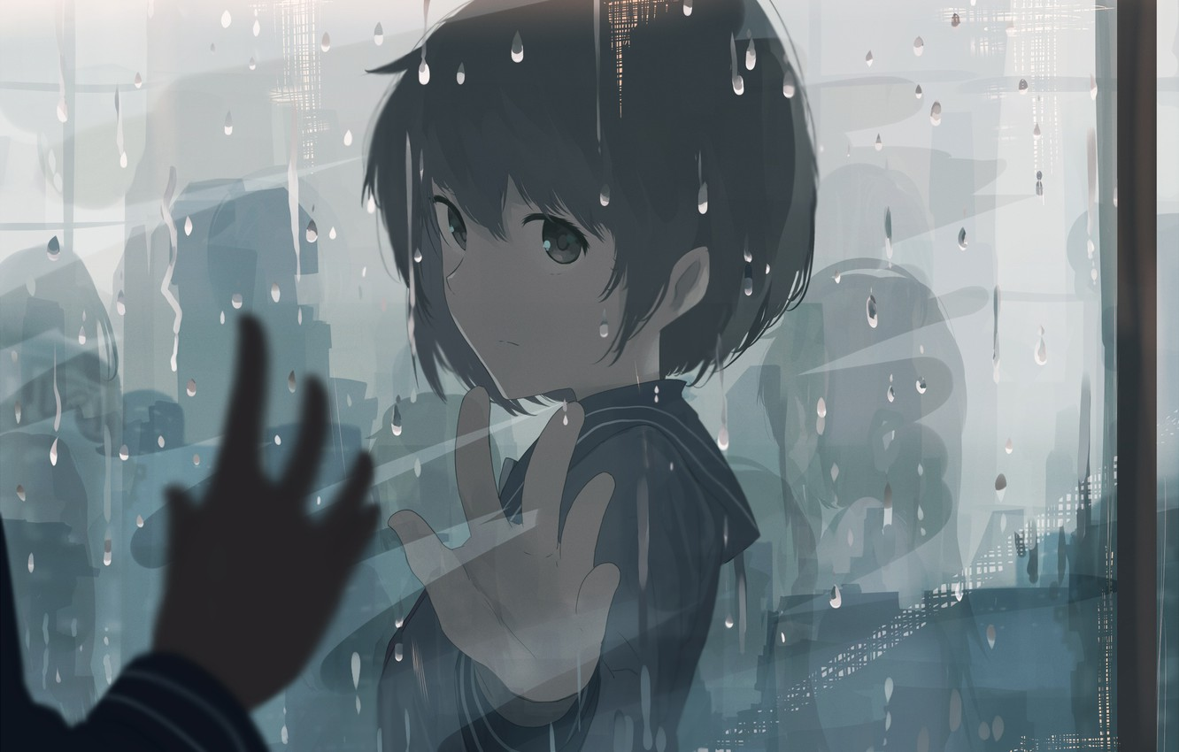 Photo wallpaper rain, blue, eyes, anime, art, mfua. RU