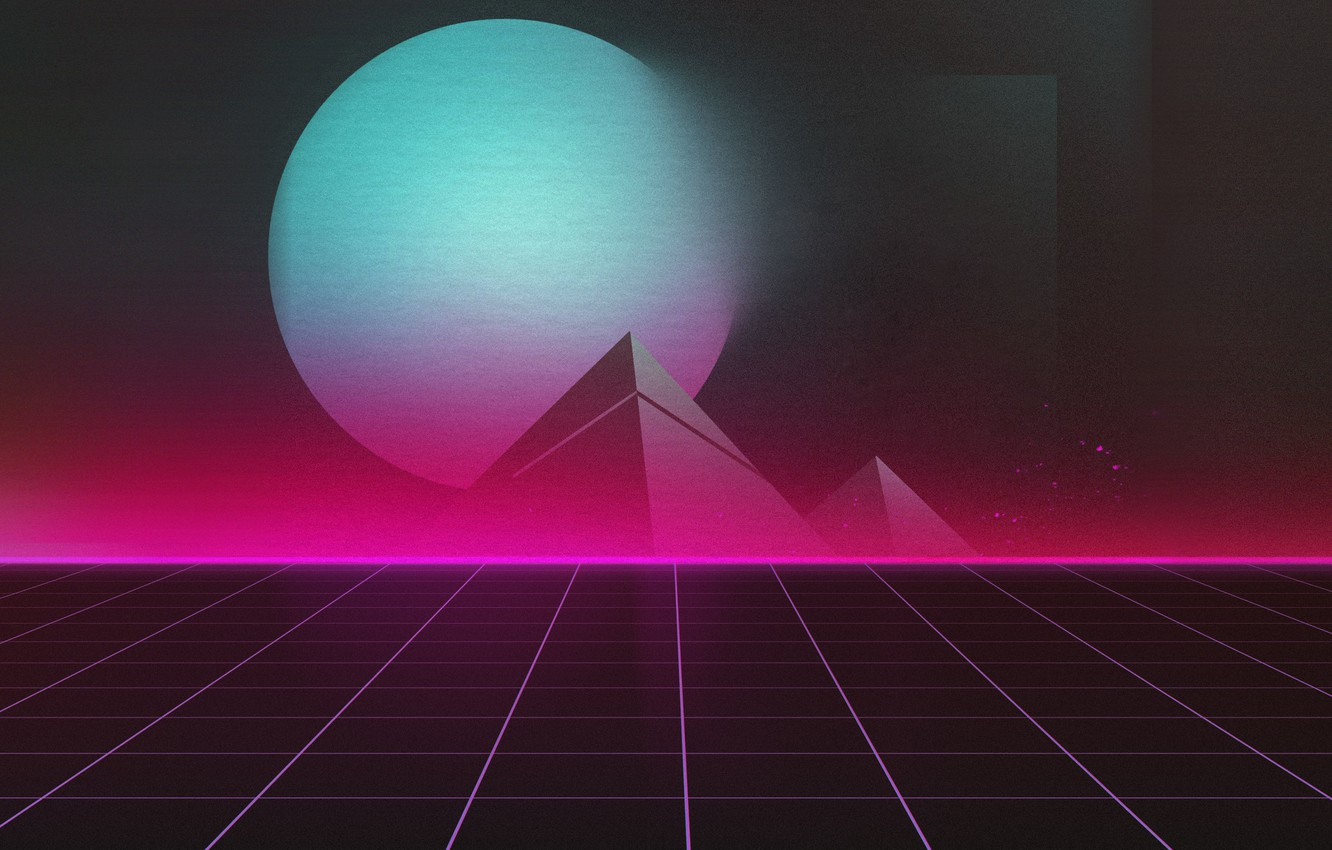 Wallpaper Music Planet Pyramid Background 80s Neon