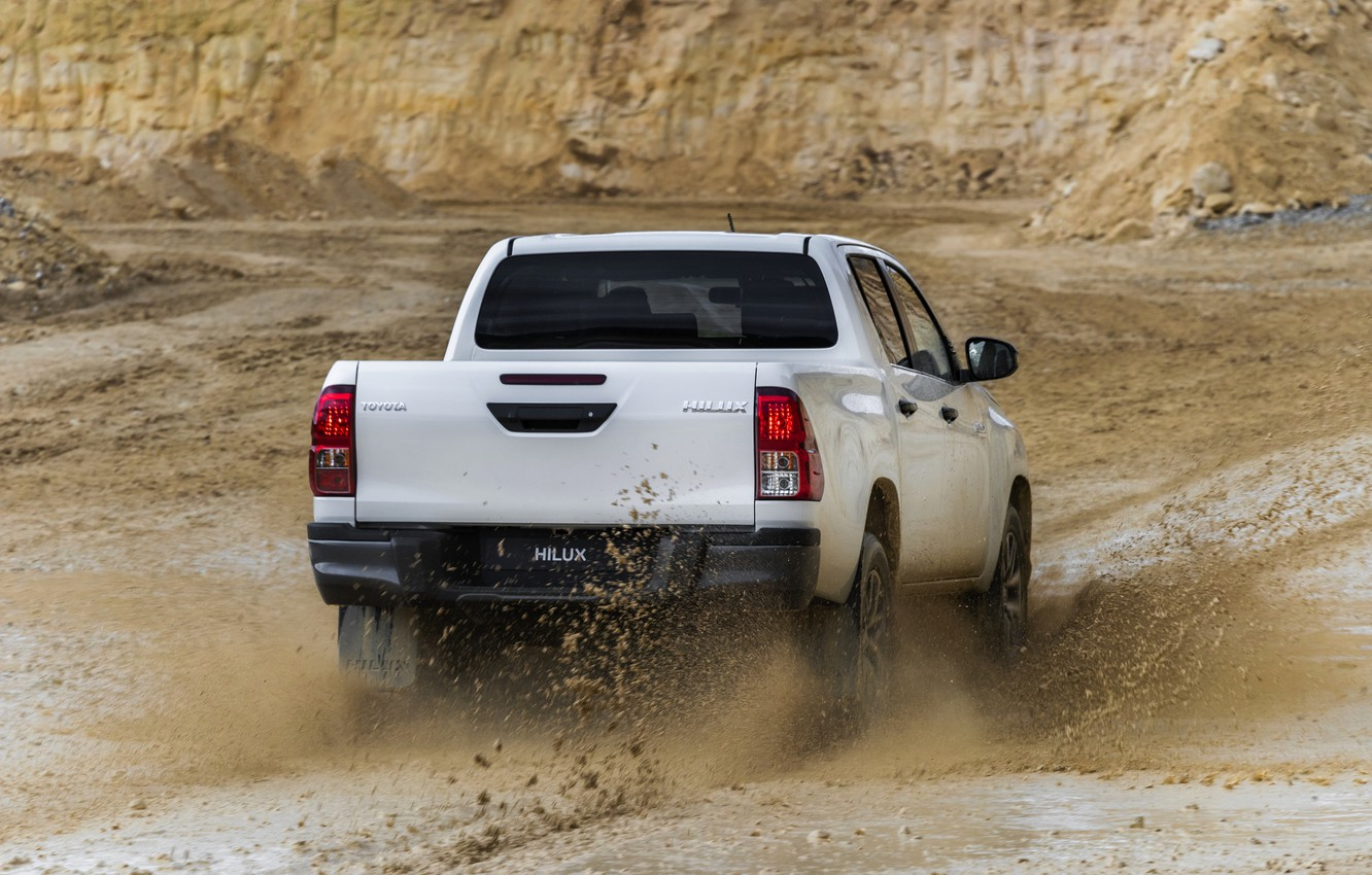 Photo wallpaper white, squirt, dirt, back, Toyota, pickup, Hilux, Special Edition, 2019
