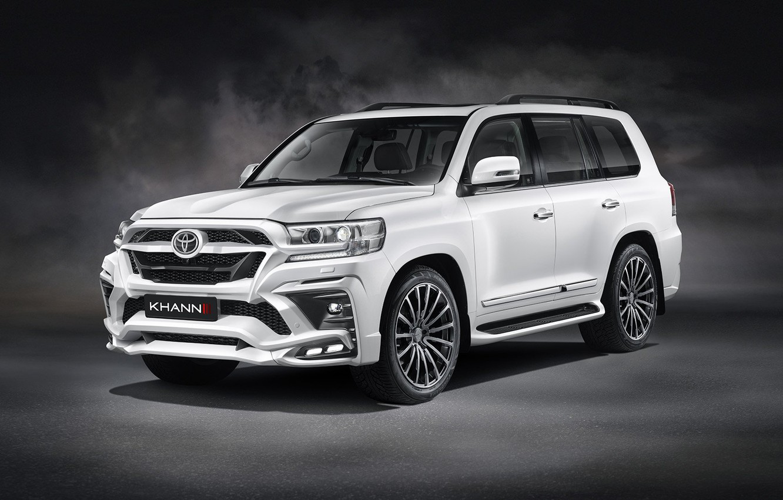 Photo wallpaper car, machine, background, tuning, SUV, white, Toyota, front, tuning, wheel, the white car, Toyota Land …