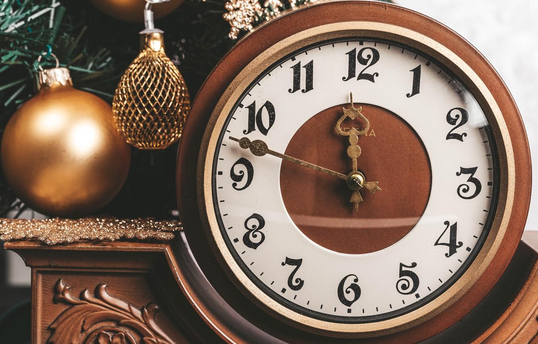 Photo wallpaper decoration, watch, ball, ball, Christmas, New year