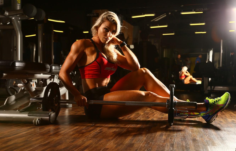 Photo wallpaper model, blonde, fitness, Angela Borges
