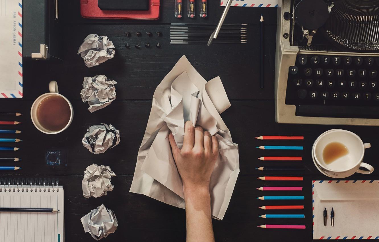 Photo wallpaper paper, table, pencils, Cup, handle, cup, paper, table, typewriter, pencils, typewriter, stationery, pens, Dina Belenko, …