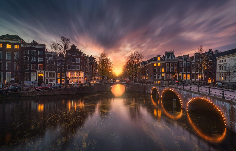 Photo wallpaper bridge, street, the evening, Amsterdam, channel, Amsterdam, Albert Dros
