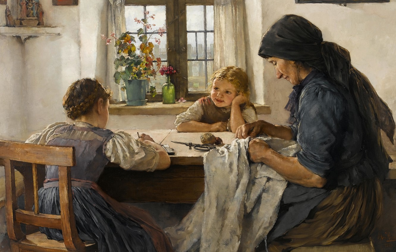 Photo wallpaper 1883, German painter, German painter, oil on canvas, Max Hammerl, A letter to my father, …