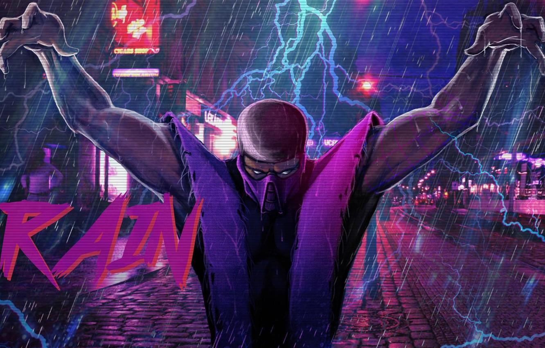 Photo wallpaper Figure, Music, Rain, Background, Zipper, Art, Mortal Kombat, Rain, Synth, Retrowave, Synthwave, New Retro Wave, …