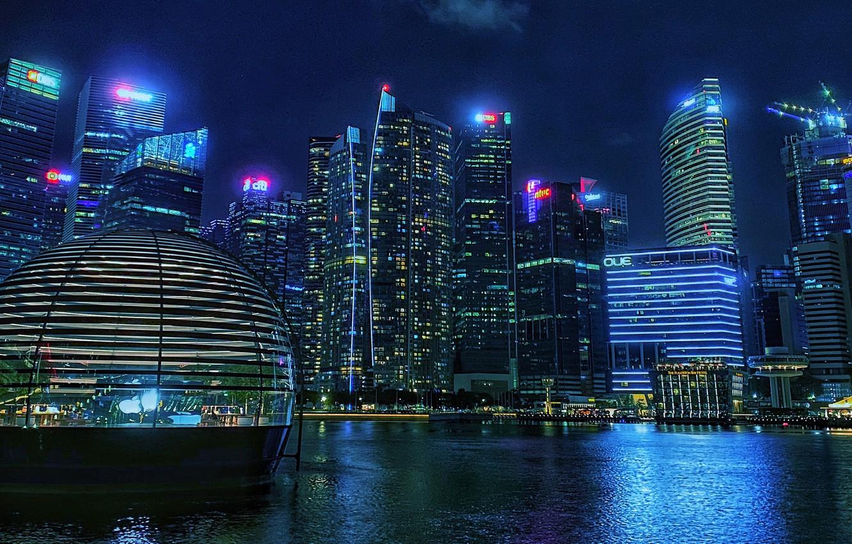 Photo wallpaper building, Bay, Singapore, night city, skyscrapers, Singapore, Marina Bay, Marina Bay
