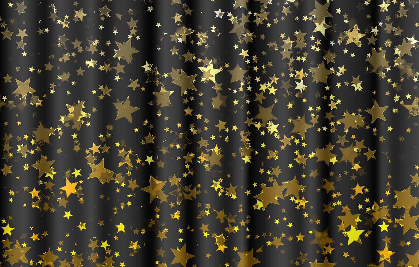 Photo wallpaper stars, background, gold, black, texture