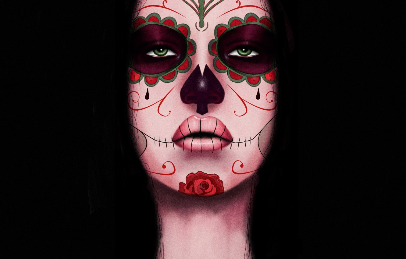 Photo wallpaper Girl, Style, Face, Eyes, Background, Calavera, Digital Art, Day of the Dead, Day of the …