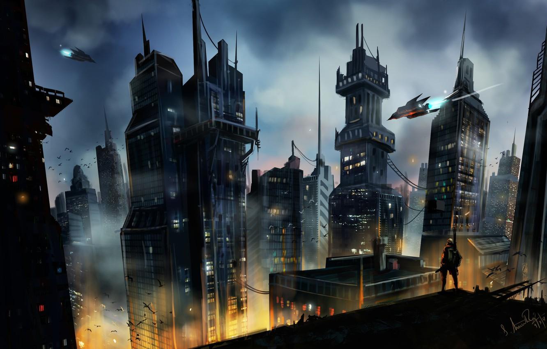Photo wallpaper birds, the city, lights, building, Cityscape