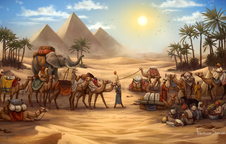Photo wallpaper Figure, The game, Caravan, Pyramid, Egypt, Elephant, Art, Game, Illustration, Camels, Game Art, Board Game, …