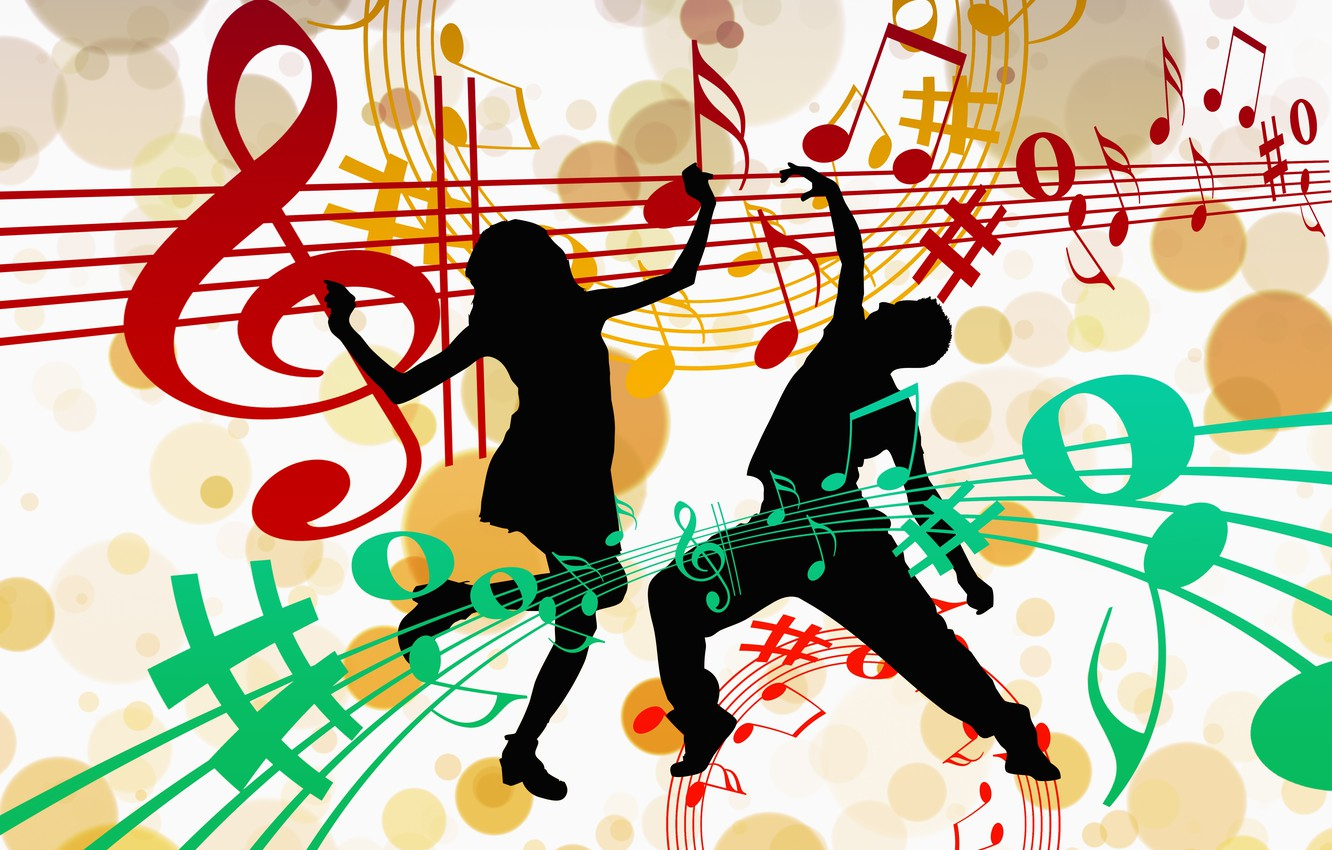 Wallpaper Notes Music Dance Silhouettes Images For Desktop