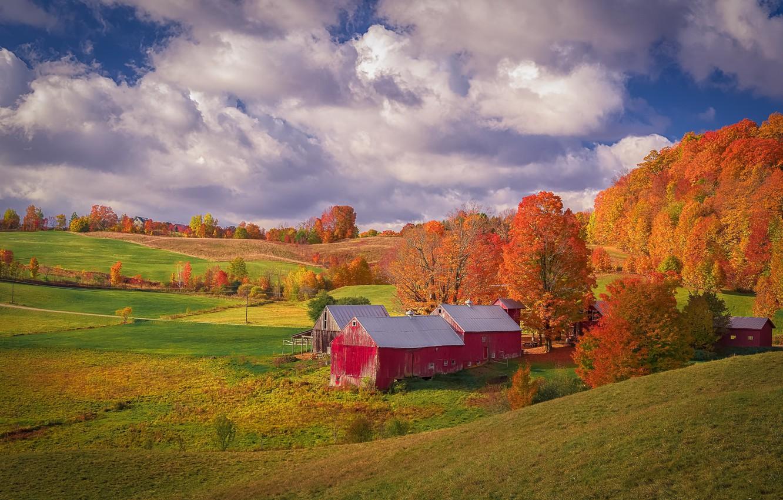 Photo wallpaper autumn, forest, clouds, trees, landscape, nature, house, blue, hills, foliage, the slopes, field, orange, village, …