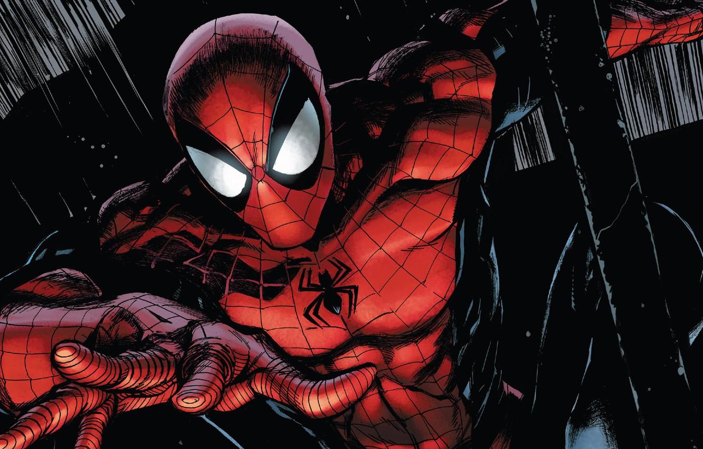 Photo wallpaper fantasy, Marvel, comics, mask, superhero, black background, costume, Spider Man