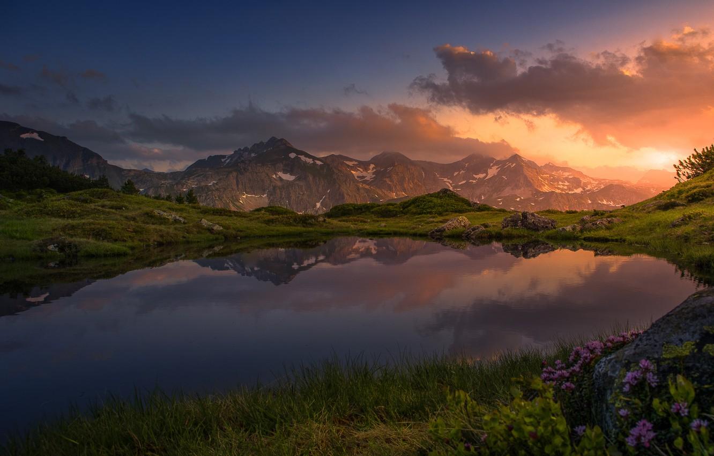 Photo wallpaper the sky, sunset, mountains, lake, reflection, Friedrich Beren