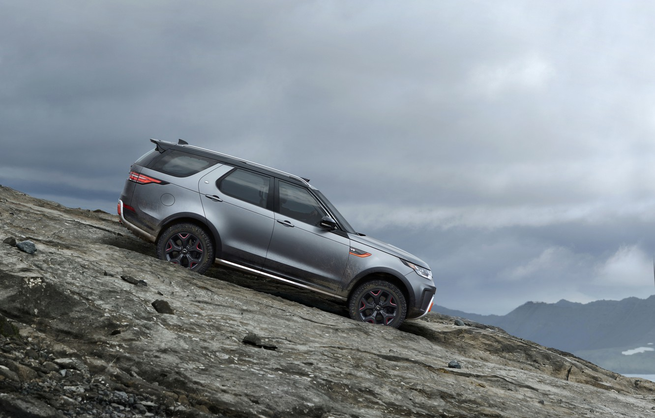 Photo wallpaper the descent, Land Rover, Discovery, 4x4, 2017, V8, SVX, 525 HP, 5 L.