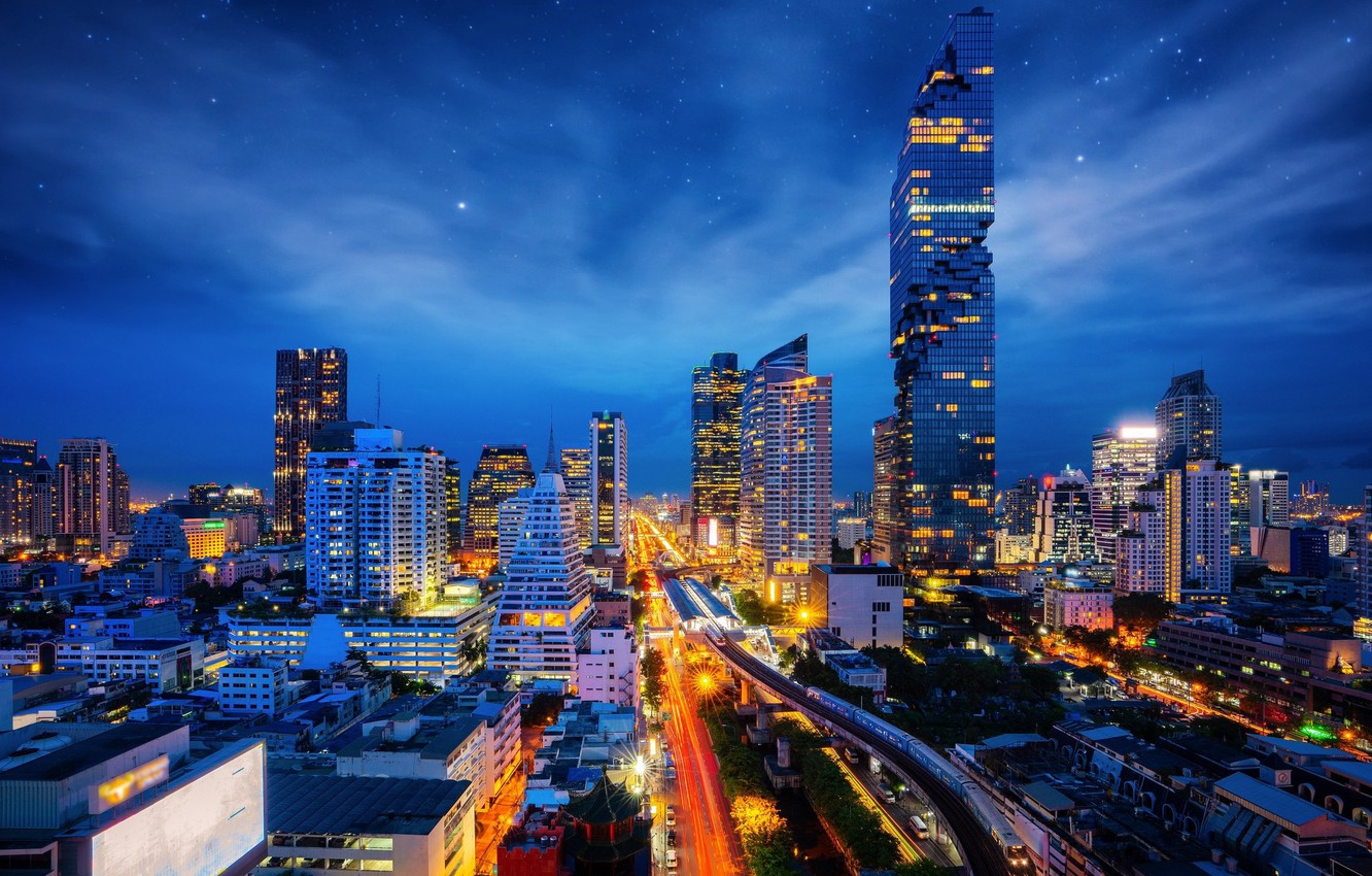 Photo wallpaper the sky, night, building, Thailand, Bangkok