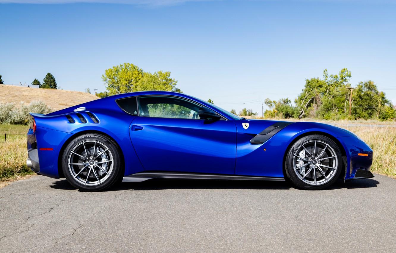 Photo wallpaper road, blue, sports car, side view, Gran Turismo, Ferrari F12 TDF