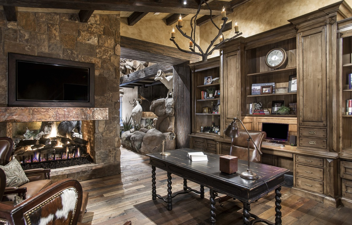 Photo wallpaper table, watch, interior, chandelier, fireplace, living room, shelves