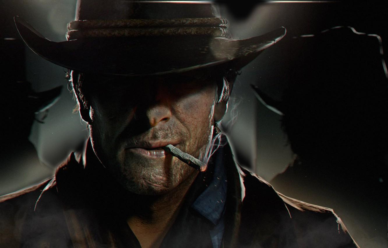 Photo wallpaper hat, art, cigarette, cowboy, Red Dead Redemption 2, RDO, Arthur Morgan