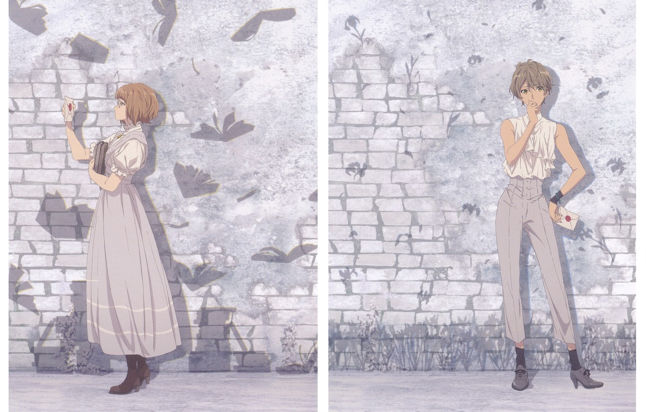 Photo wallpaper letter, haircut, glasses, the wall, lilac background, white blouse, the boots, Violet Evergarden, by Akiko …