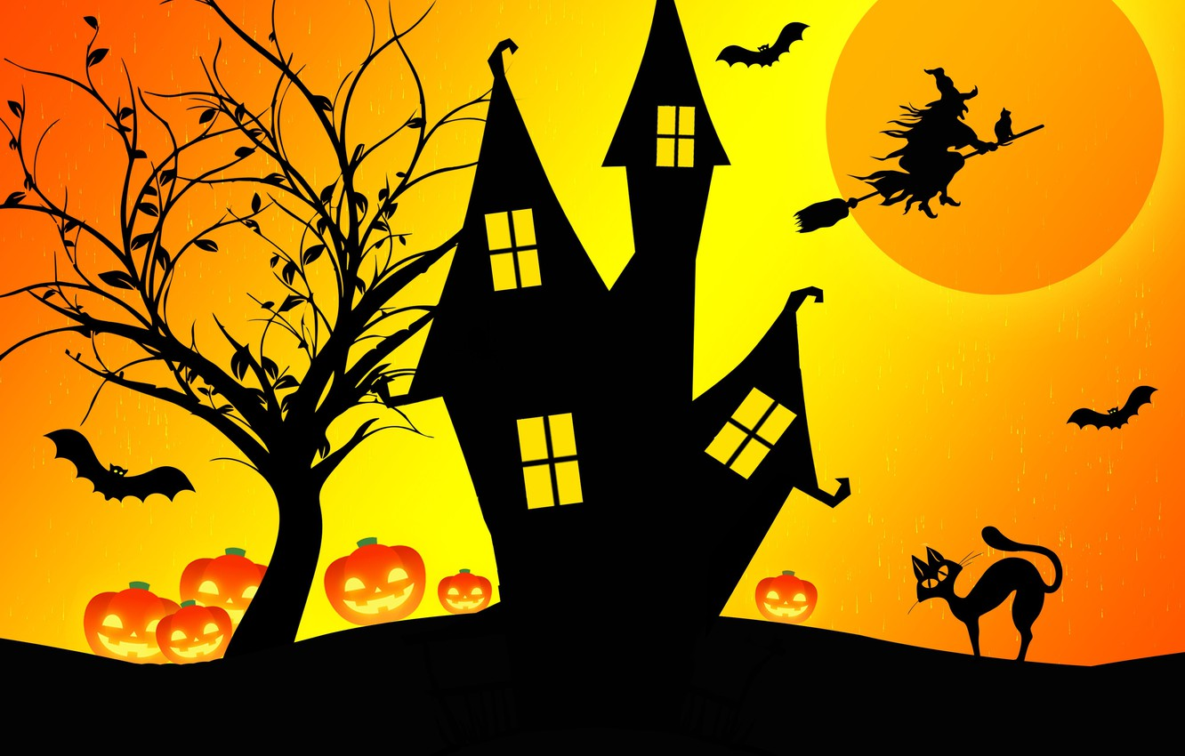 Photo wallpaper night, house, Halloween, witch