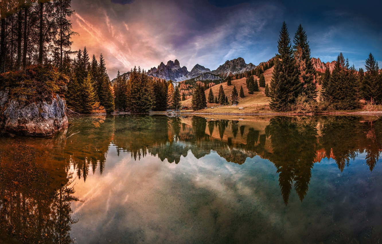 Photo wallpaper forest, autumn, lake, tree, moounts