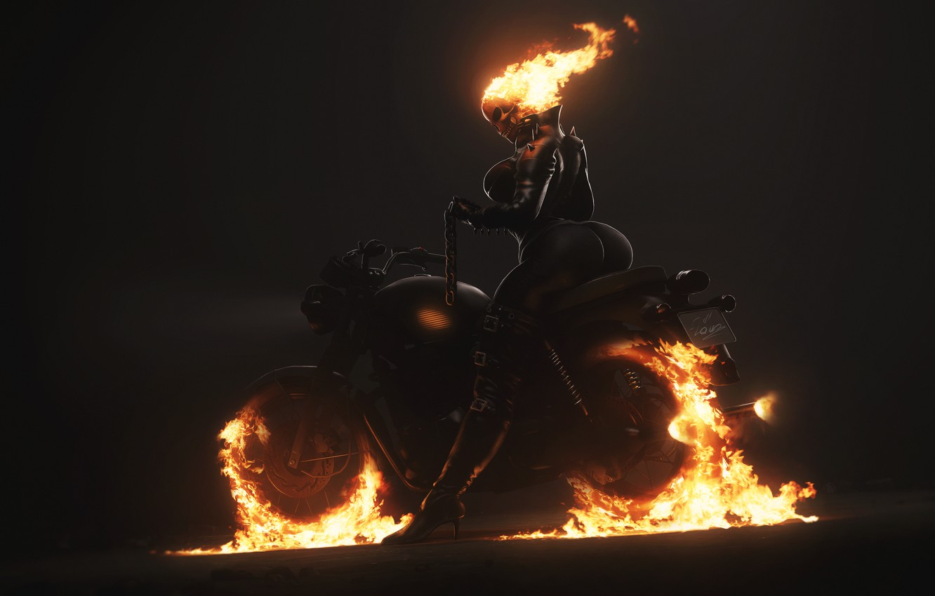 Photo wallpaper Minimalism, Skull, Fire, Chain, Motorcycle, Background, Ghost Rider, Ghost rider, Flame, Art, Ghost, Figure, Illustration, …