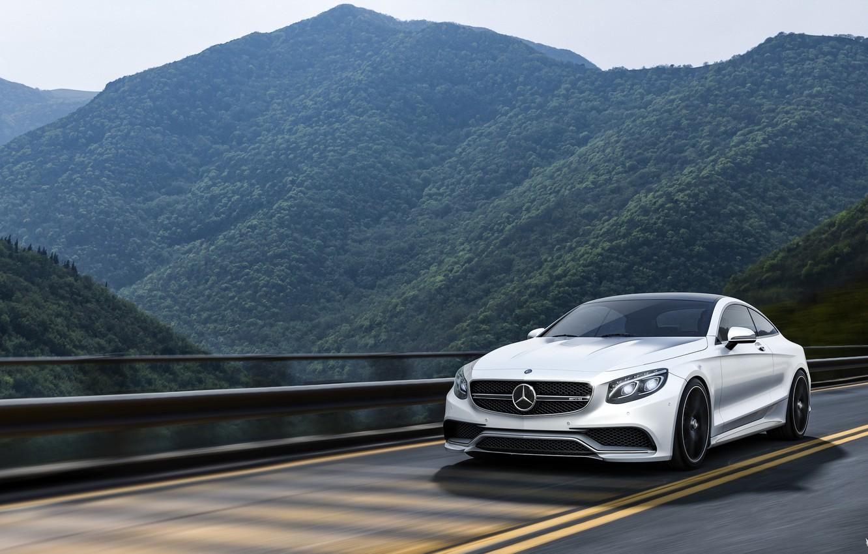 Photo wallpaper Mercedes-Benz, Mountains, White, Forest, Machine, Mercedes, Car, Landscape, Render, AMG, Rendering, Sports car, White color, …